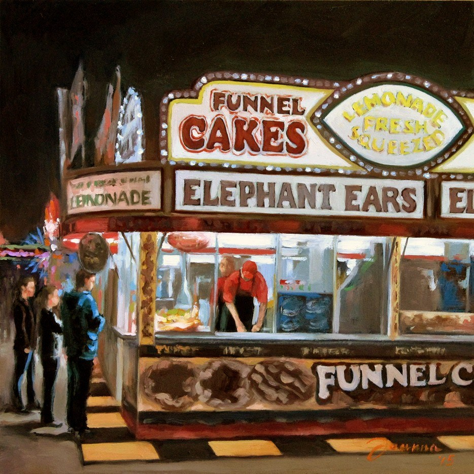 """Funnel Cake--Series Painting of Fair Food Booth"" original fine art by Joanna Bingham"