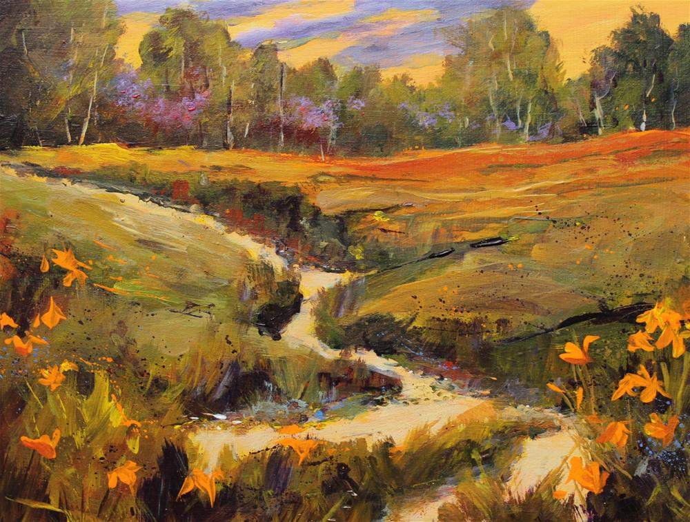 """Original acrylic meadow stream landscape lily flower"" original fine art by Alice Harpel"
