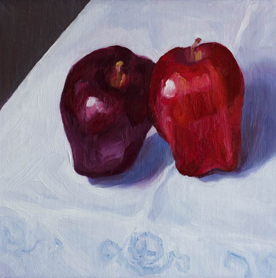 Learning Leaning Apples on Grannie's Linen original fine art by Jana Bouc