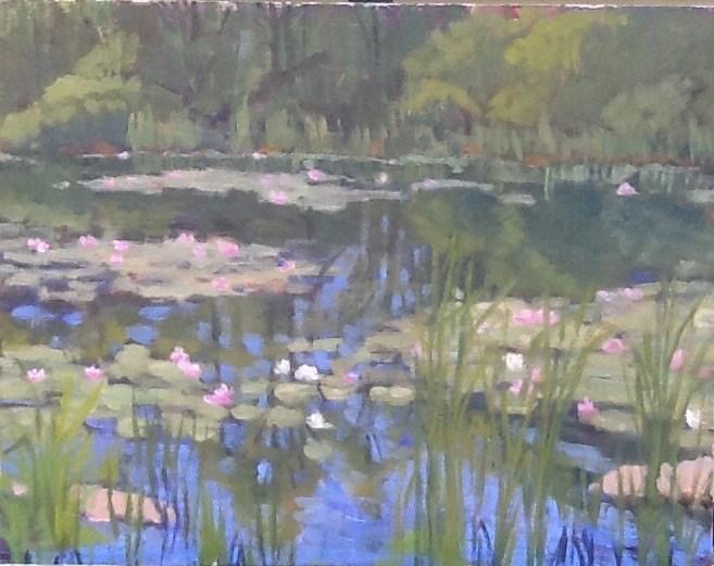 """Lily Pond on Marble Road"" original fine art by Elizabeth Bish"