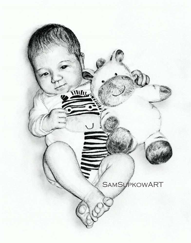 """Bennett and his Zebra"" original fine art by Sam Supkow"