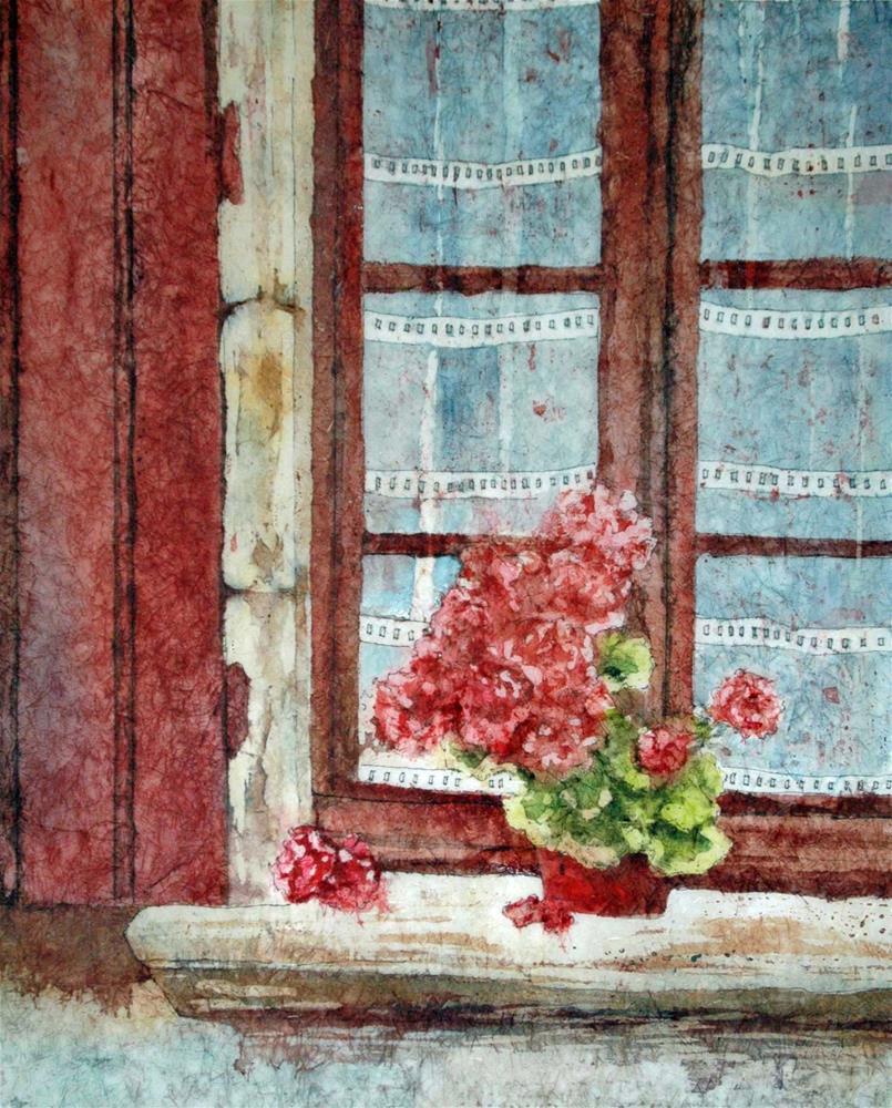 """Windowsill in St Cirq Lapopie"" original fine art by Diane Fujimoto"