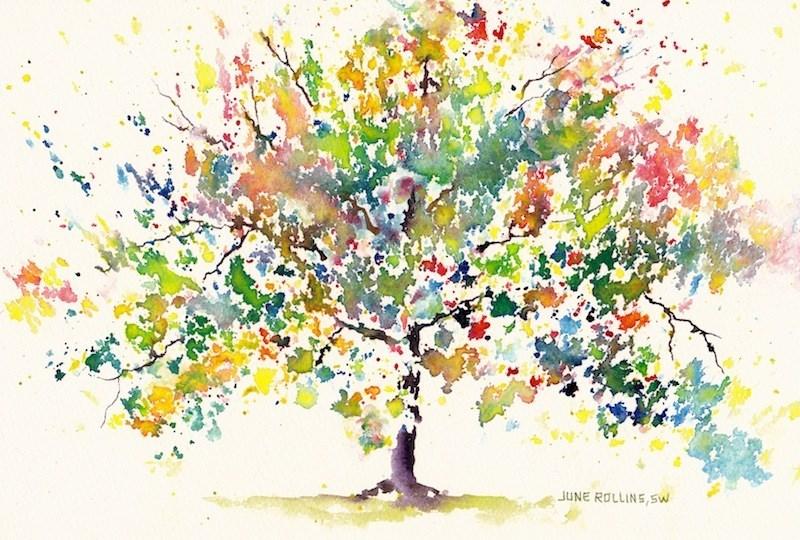 """Happy Triad Tree"" original fine art by June Rollins"