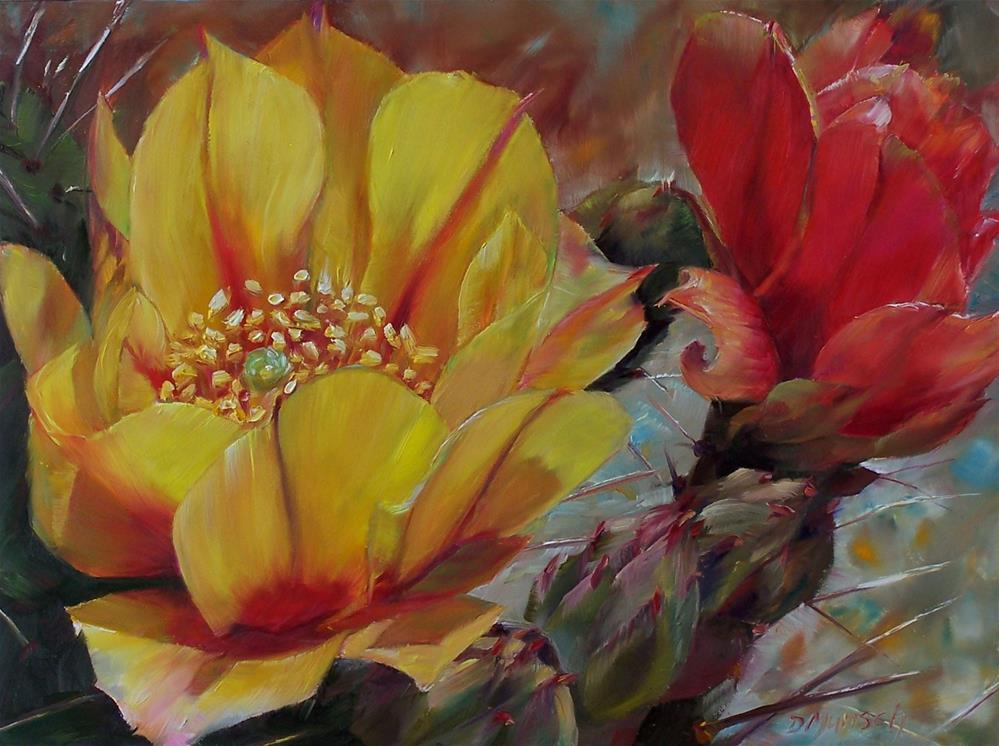 """Cactus Flowers"" original fine art by Donna Munsch"