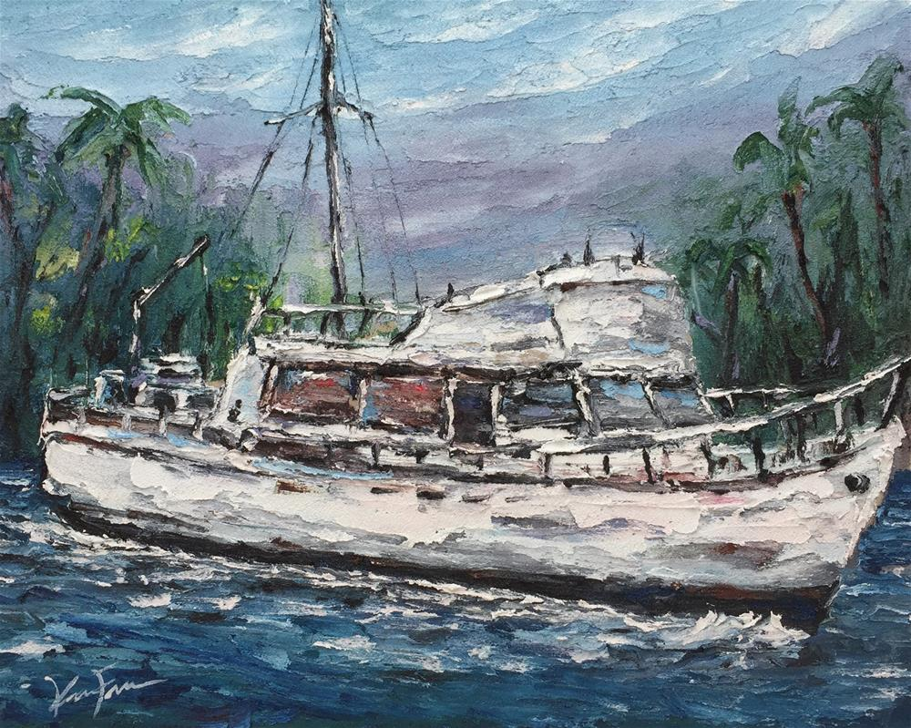 """Grand Banks Trawler"" original fine art by Ken Fraser"