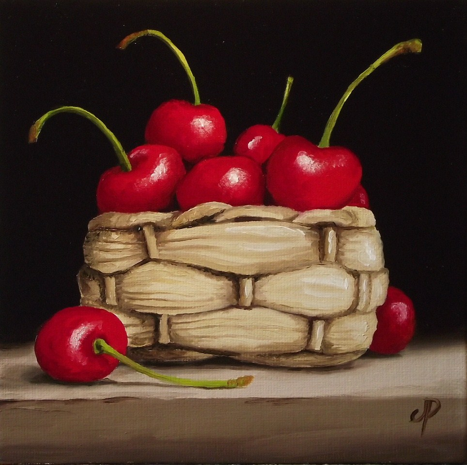 """Cherry basket"" original fine art by Jane Palmer"