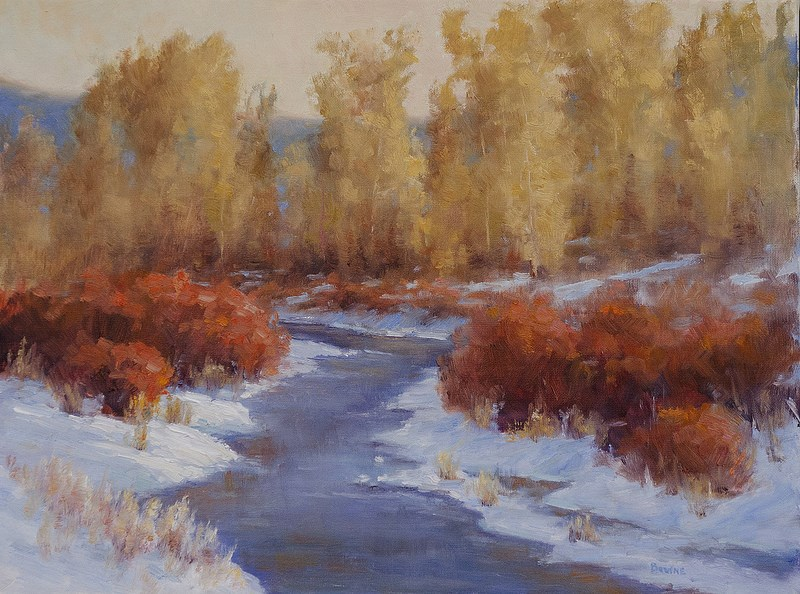 """First Snow on Cottonwood Creek"" original fine art by Bonnie Bowne"