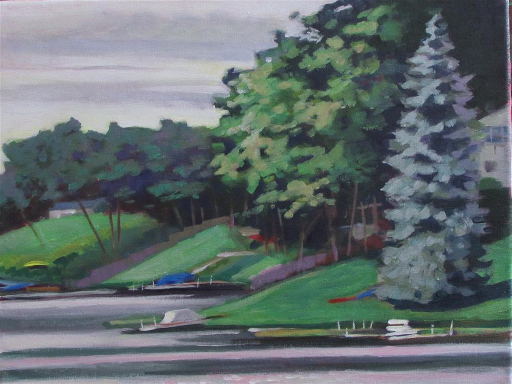 """Gray Day at the Lake"" original fine art by Susan Suraci"
