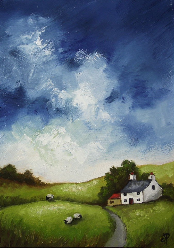 """Welsh Cottage with Sheep"" original fine art by Jane Palmer"