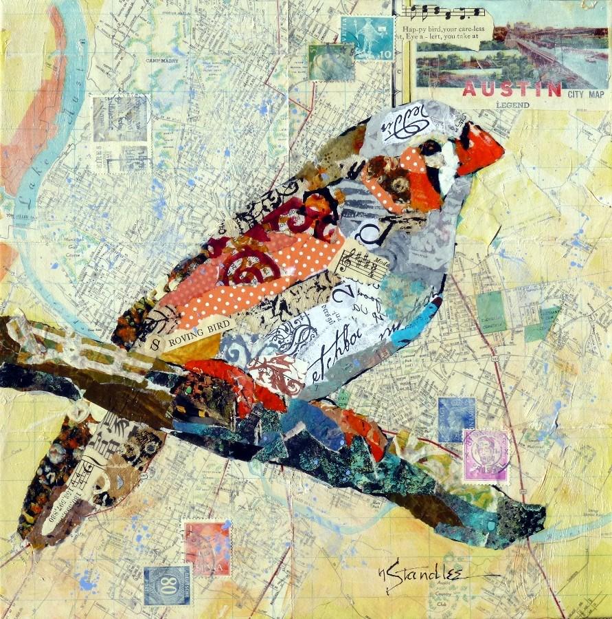 """Roving Happy Bird 13069 SOLD"" original fine art by Nancy Standlee"