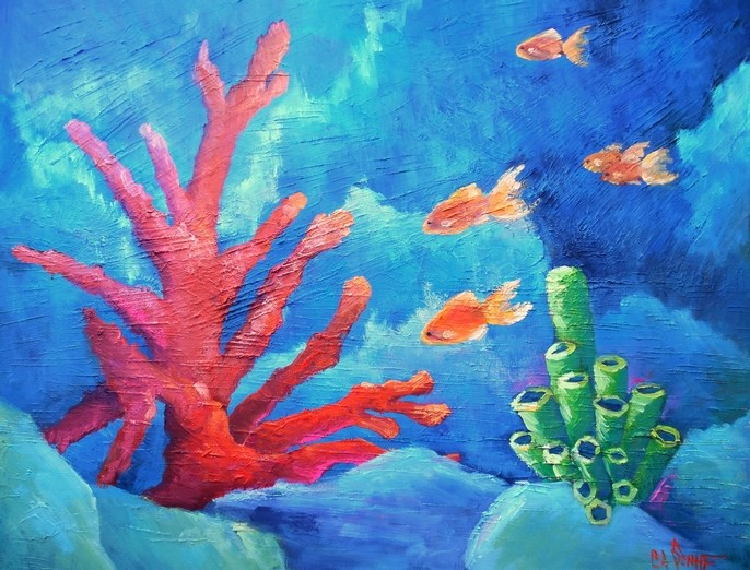 """""""Coral Reef Painting, Tropical Painting, Daily Painting, 24x20x1.5 Textured Oil Painting"""" original fine art by Carol Schiff"""