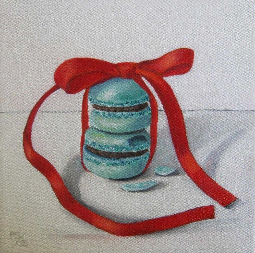 """Macaroons and Red Ribbon"" original fine art by Pera Schillings"