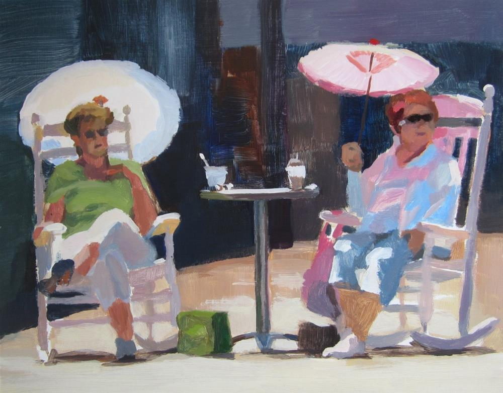 """The Umbrella Ladies"" original fine art by Kaethe Bealer"