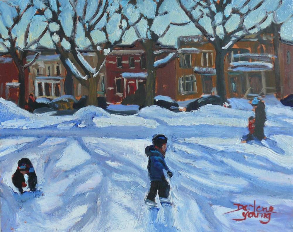 """Montreal Scene, Outremont Park, Learning to Skate"" original fine art by Darlene Young"
