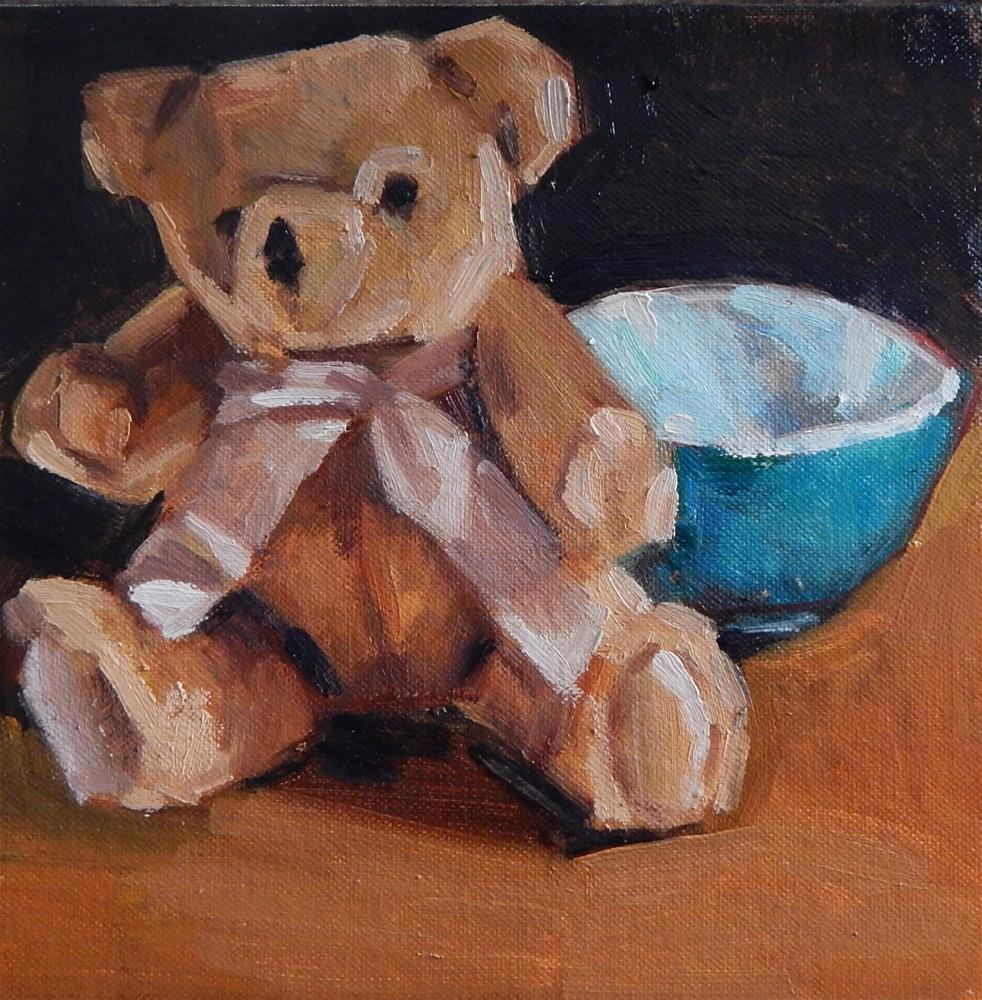 """Small Square Painting of a Bear and a Bowl"" original fine art by Megan Schembre"