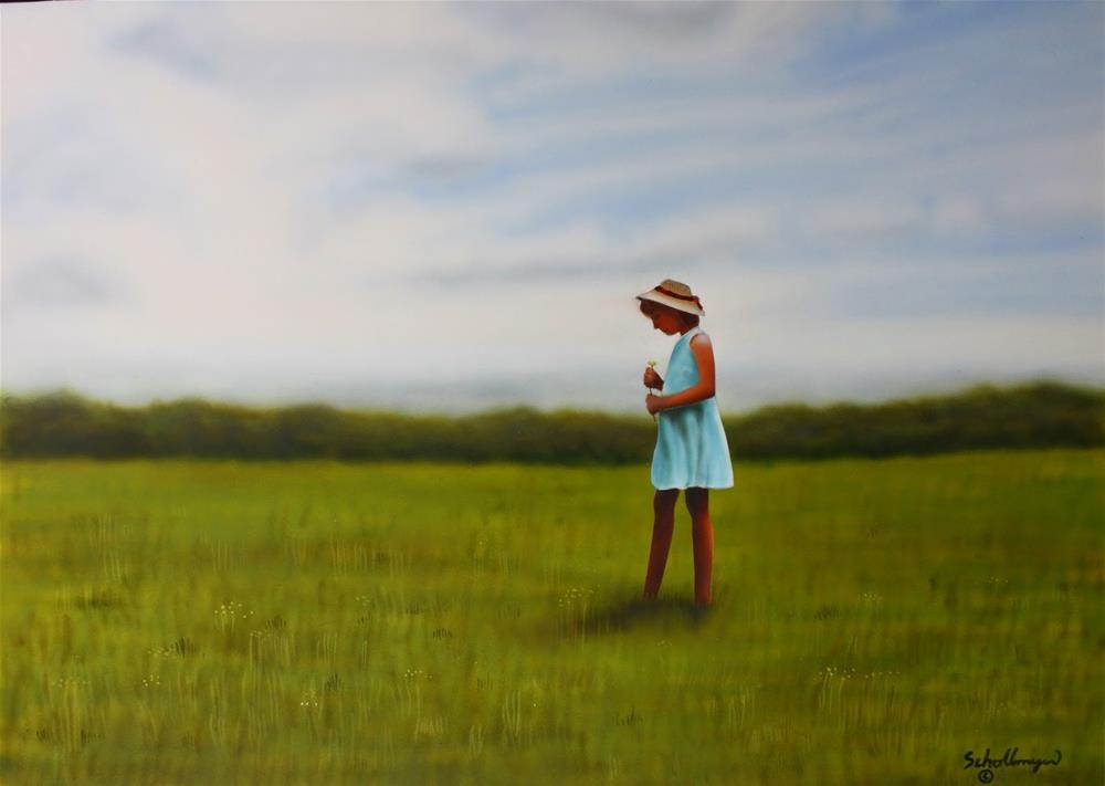 """Picking Daisies"" original fine art by Fred Schollmeyer"
