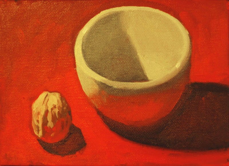 """White Bowl and Walnut"" original fine art by Ski Holm"