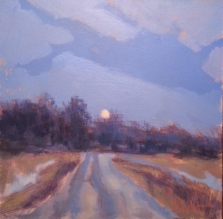 """Winter Moon Rising Impressionism Original Oil Painting Landscape"" original fine art by Heidi Malott"