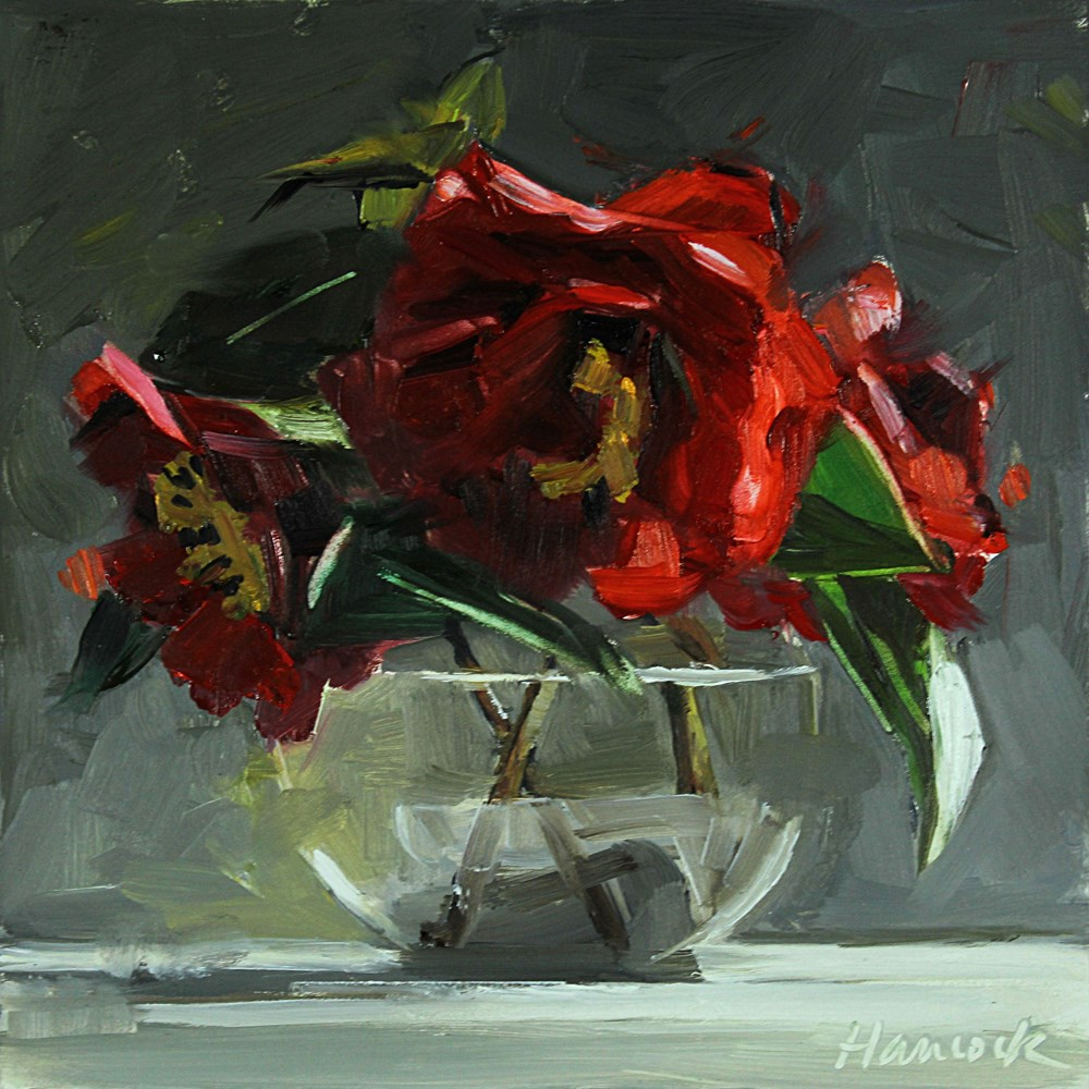 """Three Red Camellia in a Round Glass Vase"" original fine art by Gretchen Hancock"