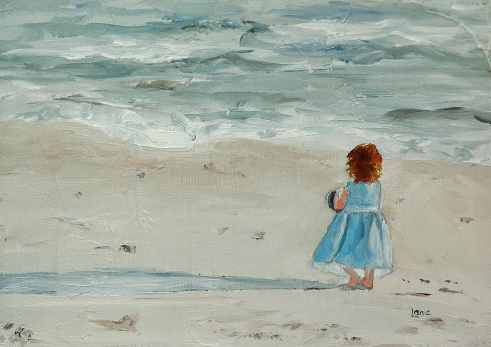 """BEACHY INNOCENCE ORIGINAL OIL ON TEXTURED PANEL © SAUNDRA LANE GALLOWAY"" original fine art by Saundra Lane Galloway"