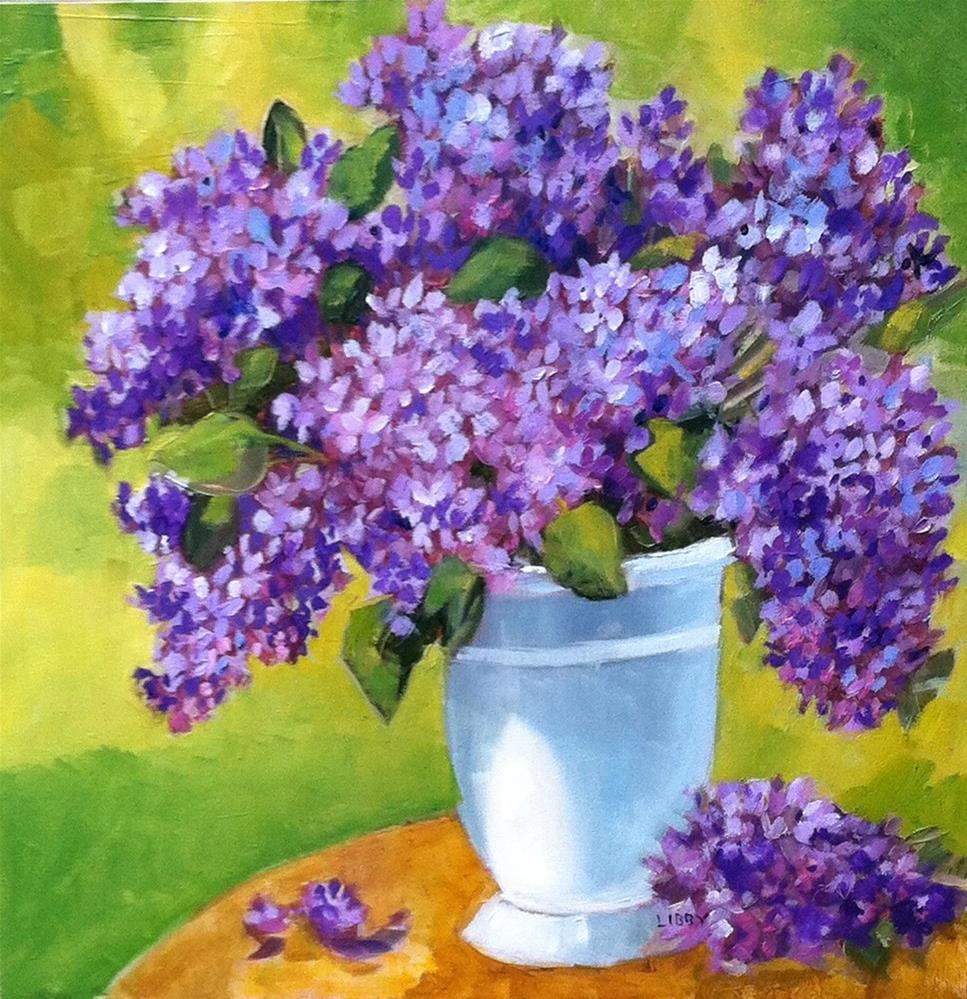 """Lilacs in White Vase"" original fine art by Libby Anderson"