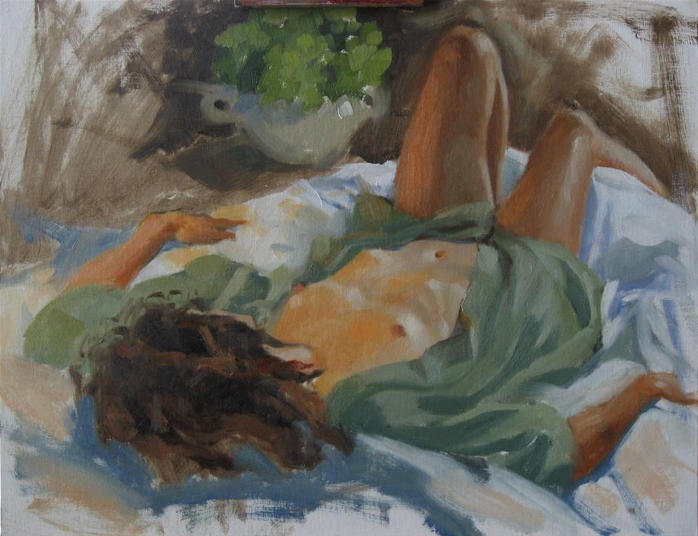 """Reclining nude in green 14x18 oil"" original fine art by Claudia Hammer"