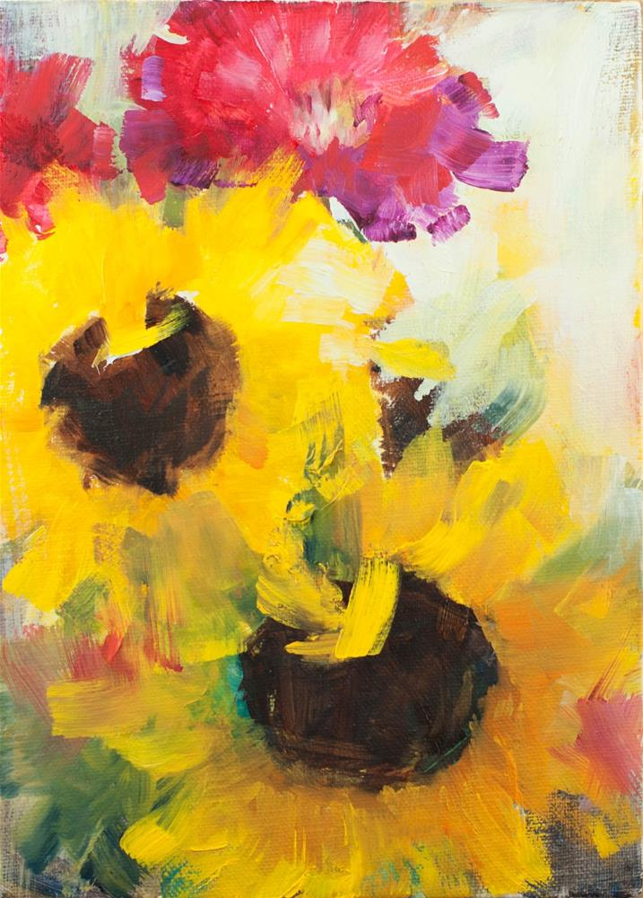 """Sunflowers and Zinnia"" original fine art by Sue Churchgrant"