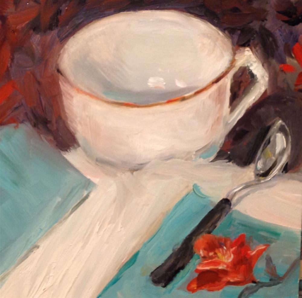 """Blue green napkins/ single cup"" original fine art by Annette Balesteri"