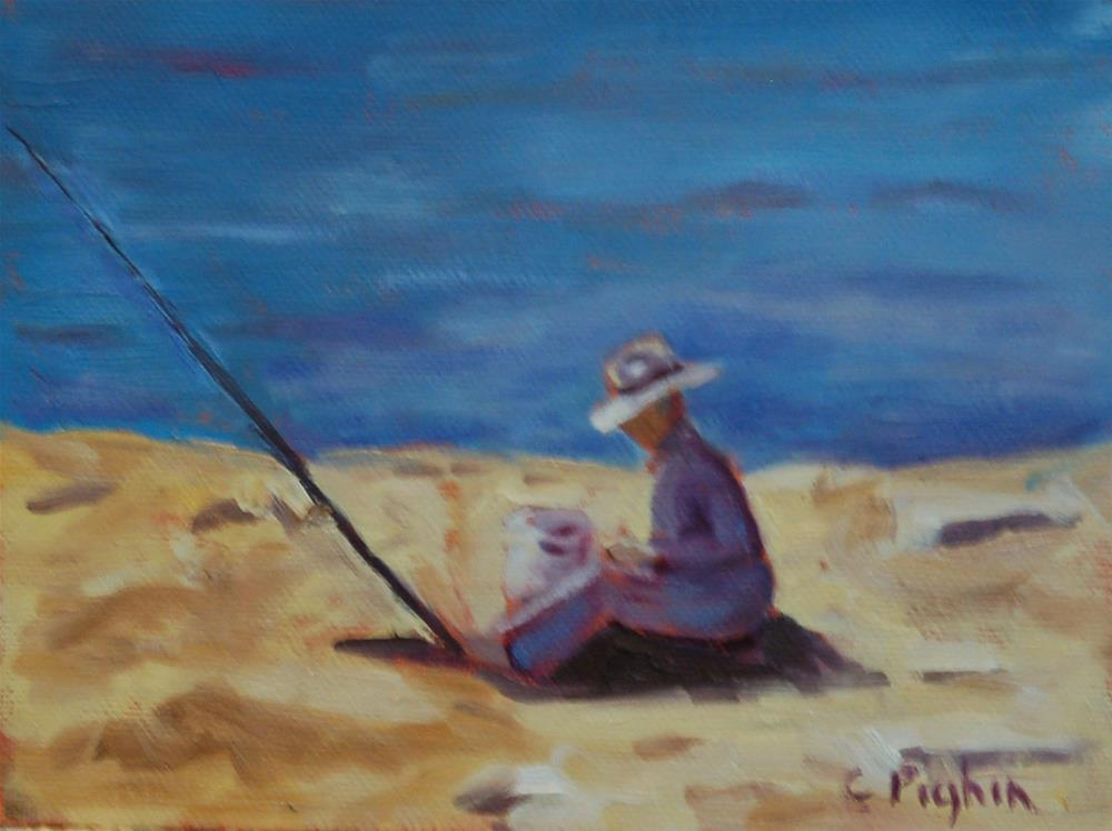 """Baiting the Hook"" original fine art by Carol Pighin"