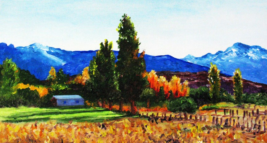 """Trees Ablaze"" original fine art by Nan Johnson"