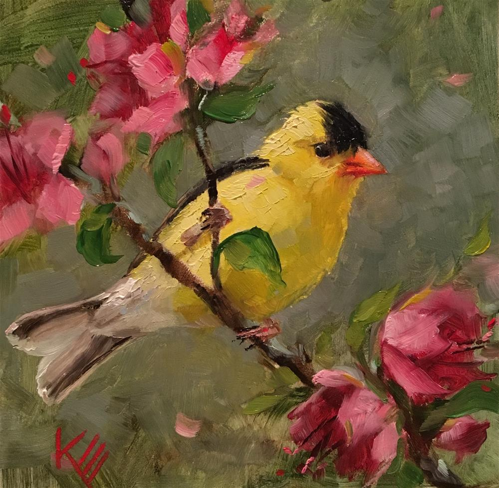 """Goldfinch & Blossoms"" original fine art by Krista Eaton"