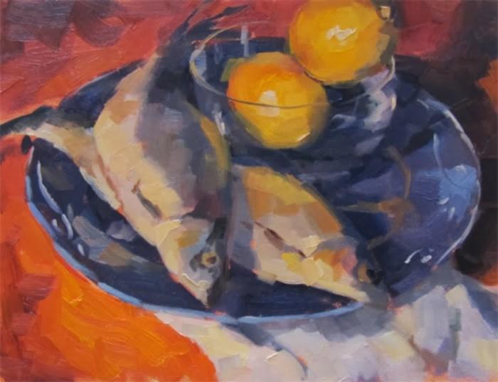 """Fish and Lemons"" original fine art by Katia Kyte"