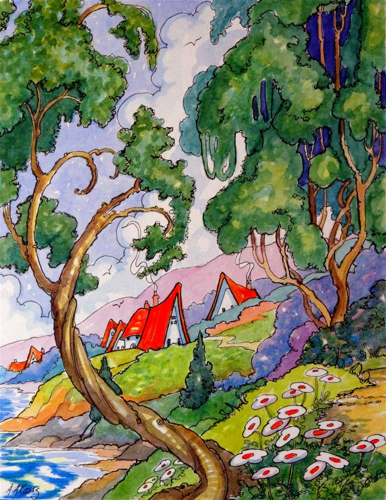 """Little Cottages Along the Shore Storybook Cottage Series"" original fine art by Alida Akers"
