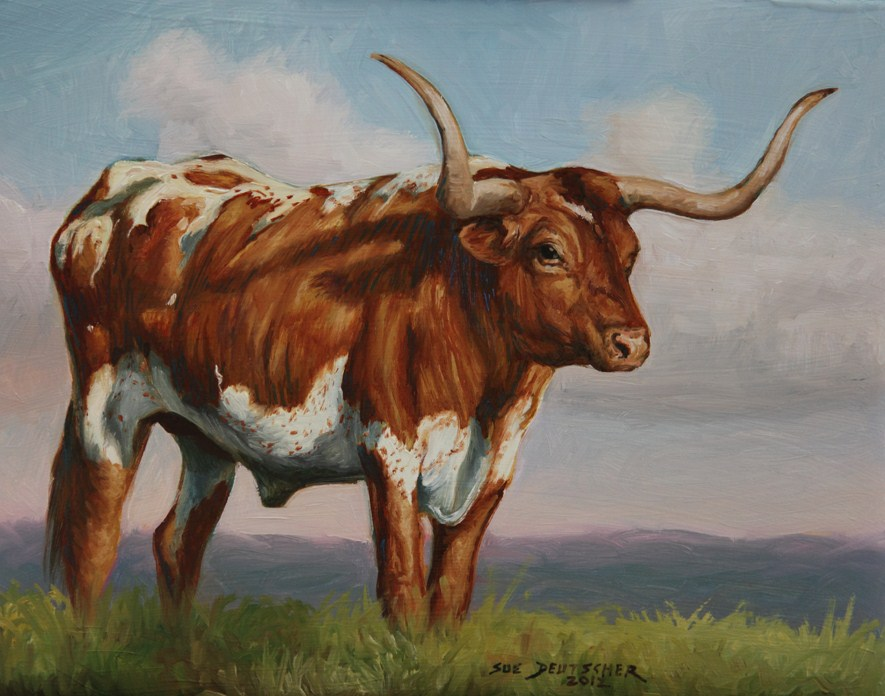 """Texas Longhorn Steer"" original fine art by Sue Deutscher"
