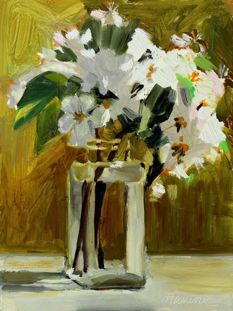 """Apple Blossoms Square Glass Jar"" original fine art by Gretchen Hancock"