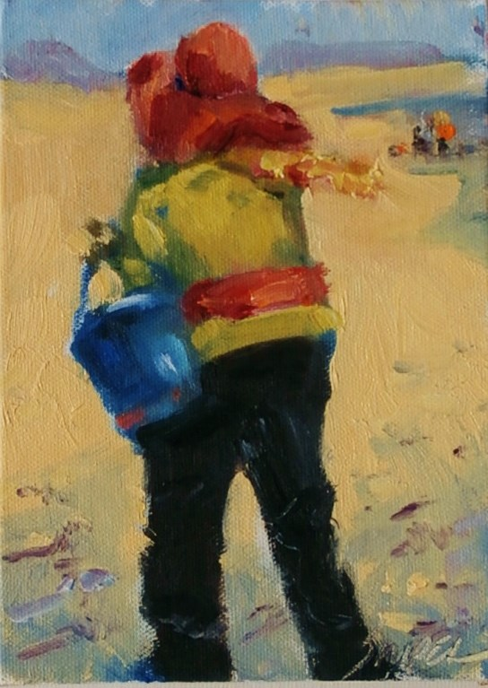"""Looking for Shells in February, Edisto Island"" original fine art by Connie Snipes"