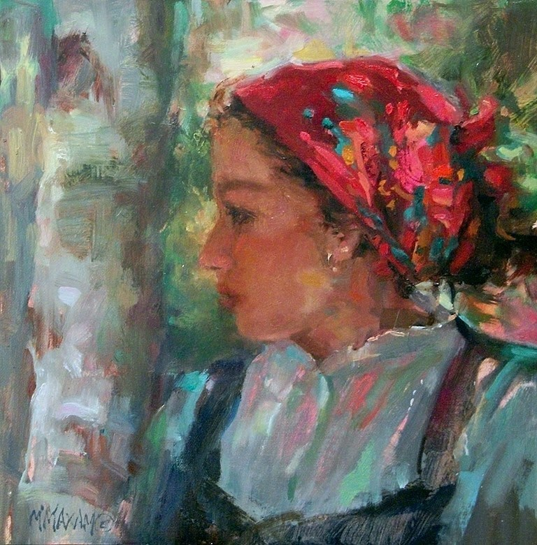 """Girl In A Red Scarf"" original fine art by Mary Maxam"