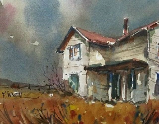 """Prairie Farmhouse"" original fine art by David Finnell"