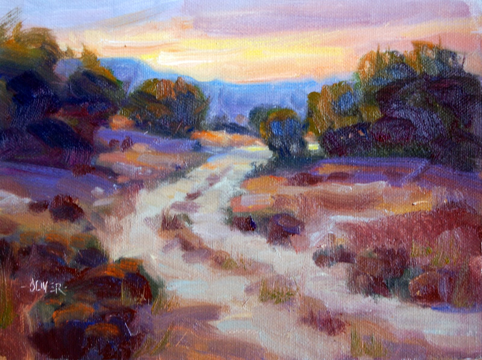 """Path by the Rio Grande"" original fine art by Julie Ford Oliver"