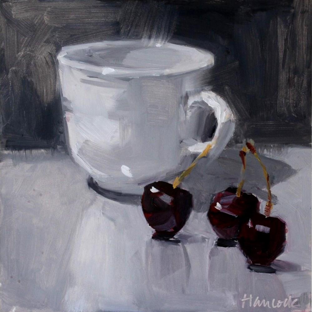 """""""White Cup and Three Dark Cherries"""" original fine art by Gretchen Hancock"""