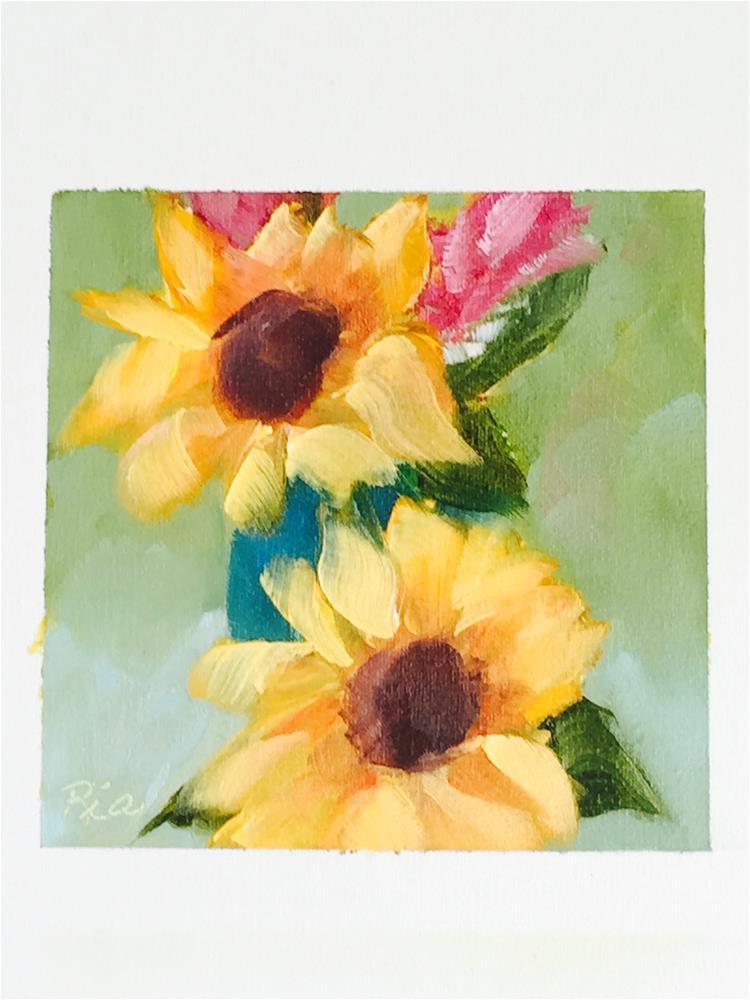 """Sunflower Shine"" original fine art by Maria Reed"