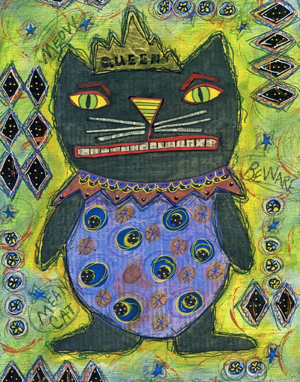"""Black Cat Queen"" original fine art by Sonja Sandell"