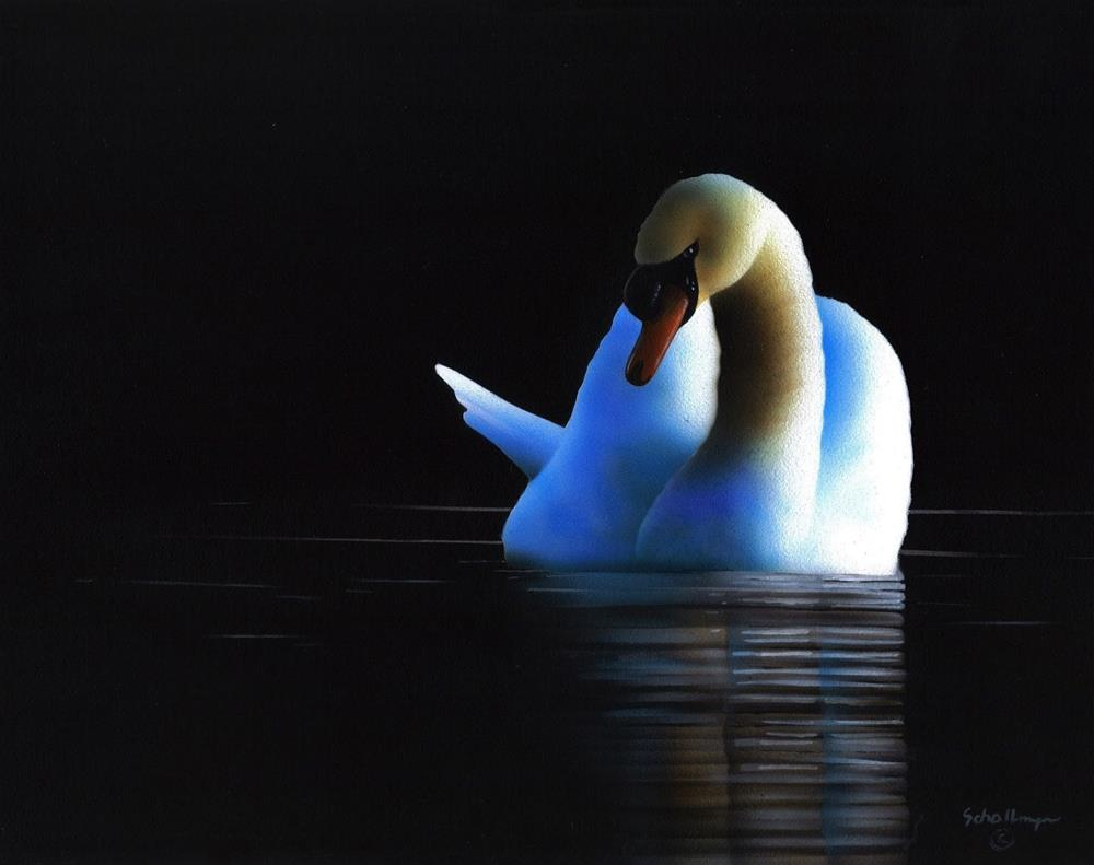 """Night Swan"" original fine art by Fred Schollmeyer"