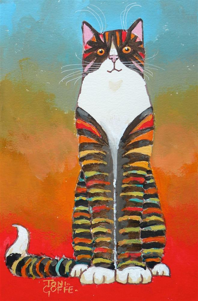 """Cat Coat"" original fine art by Toni Goffe"
