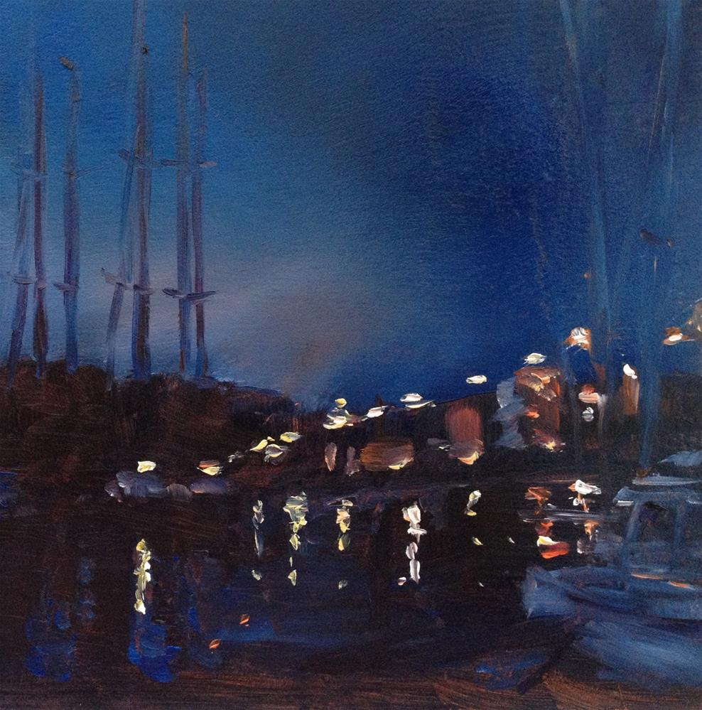 """Spa Creek Bridge Nocturne"" original fine art by Claudia L Brookes"