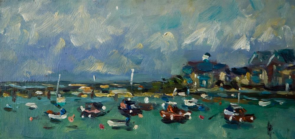 """""""Boats at Shoreham by Sea"""" original fine art by Andre Pallat"""