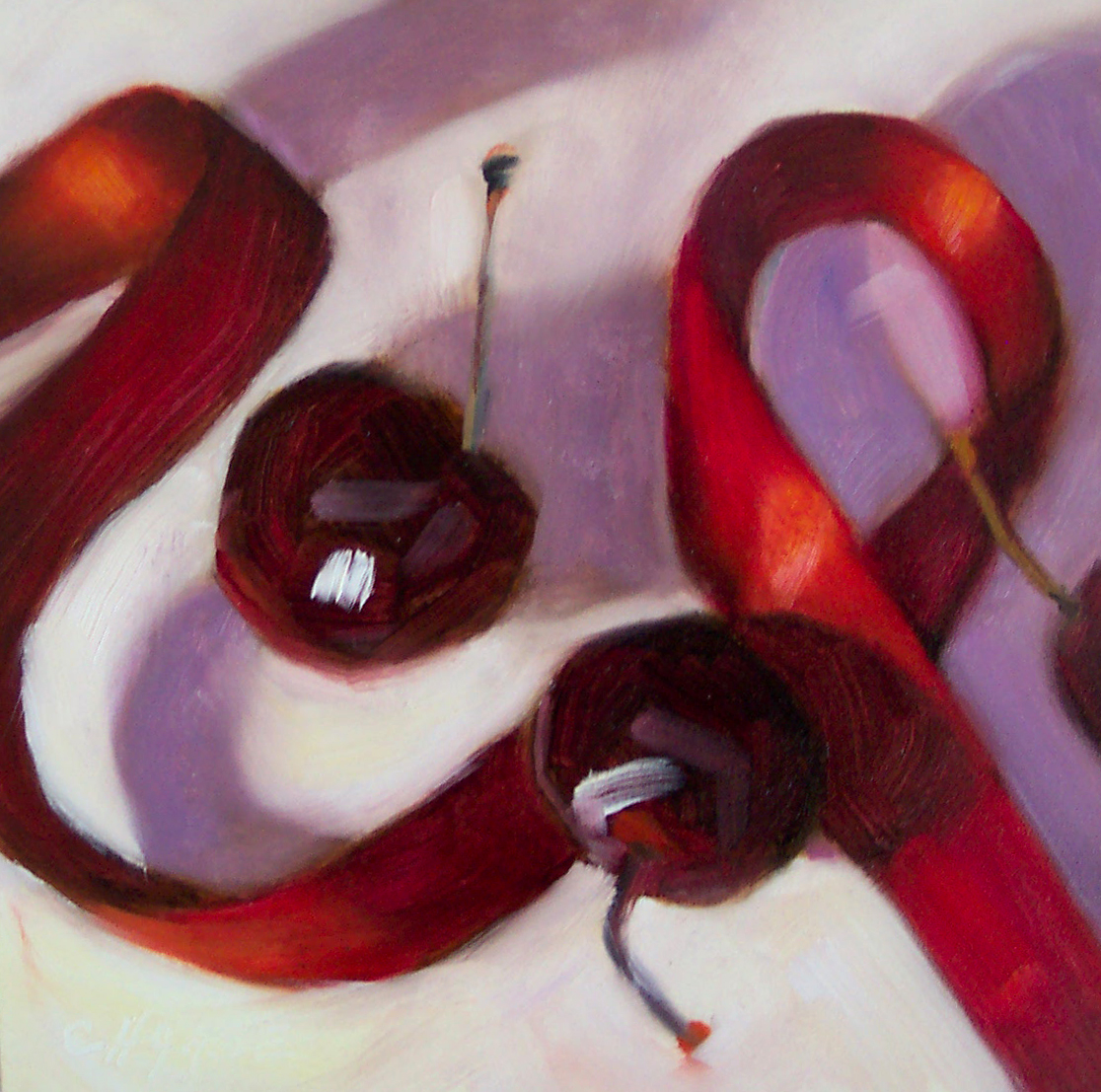 """Red Ribbon"" original fine art by Cindy Haase"