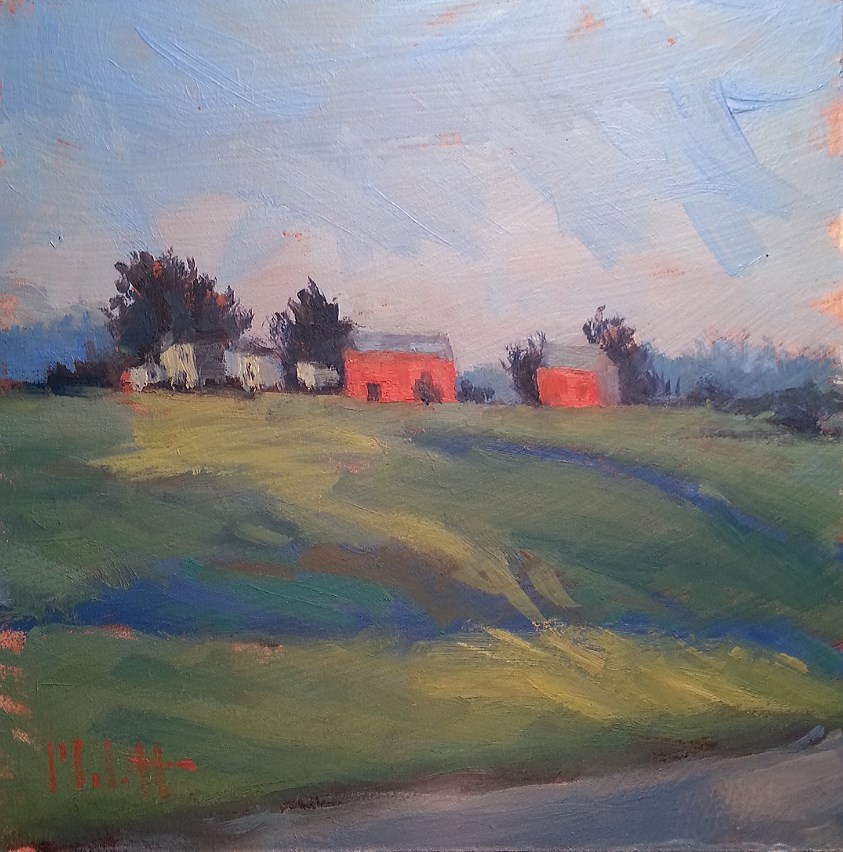 """Impressionism Rural Landscape Morning Light"" original fine art by Heidi Malott"
