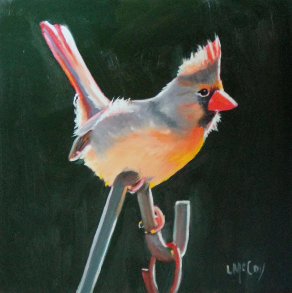 """Sunbathing, Female Cardinal"" original fine art by Linda McCoy"