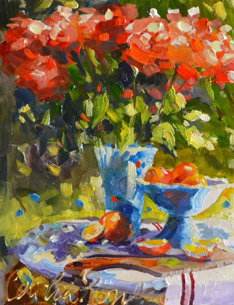 """ROSE TABLE"" original fine art by Cecilia Rosslee"